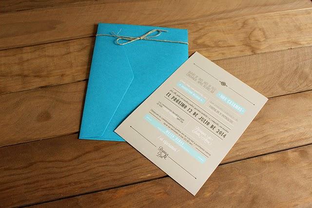 invitaciones de boda originales sobres azul cyan hermanasbolenashop