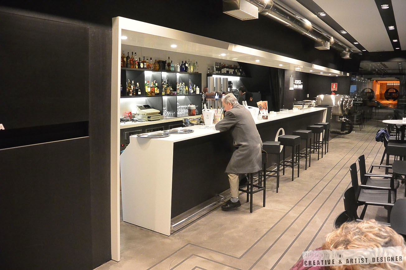 Proyecto de Interiosrismo Cafetería Gran Vía. (Vista de Barra)