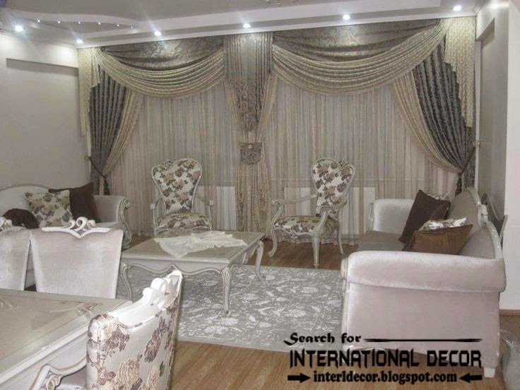 Contemporary Grey Curtain Designs For Living Room 2015, Embossed Curtains  And Drapes