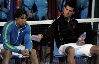 funny sport pictures of tennis: Rafael Nadal and Novak Djokovic