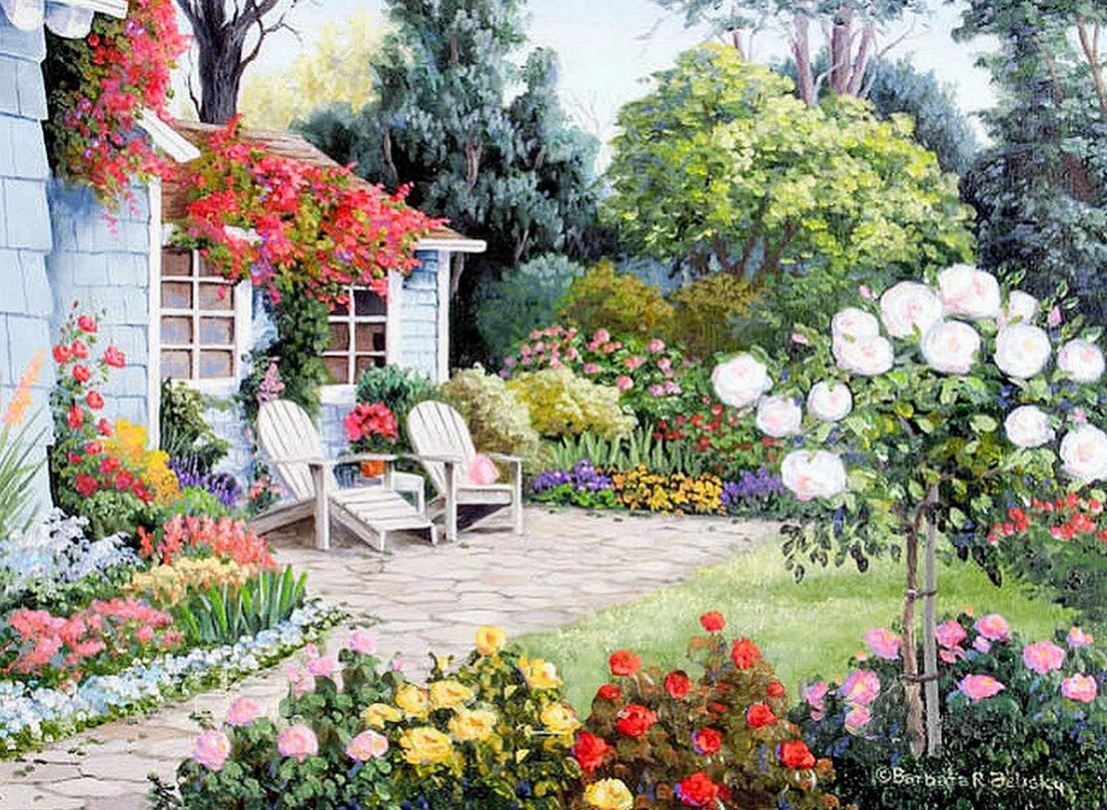Cuadros modernos pinturas y dibujos cuadros de casas con for Paisajes de jardines
