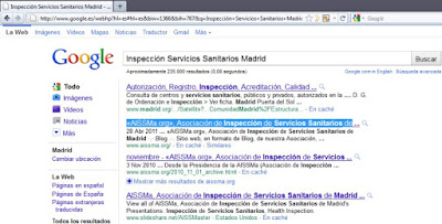 Captura de pantalla de bsqueda en Google (02/05/2011) con los trminos &#171;Inspeccin Servicios Sanitarios Madrid&#187;, en la que el Blog &#171;AISSMa.org&#187; aparece en los lugares 2-4.