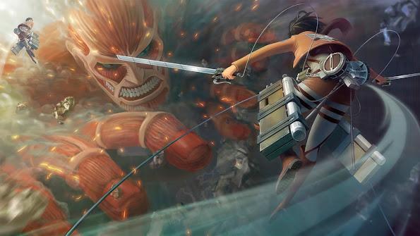 colossal titan eren jaeger fighting titan attack on titan shingeki no kyojin anime hd wallpaper