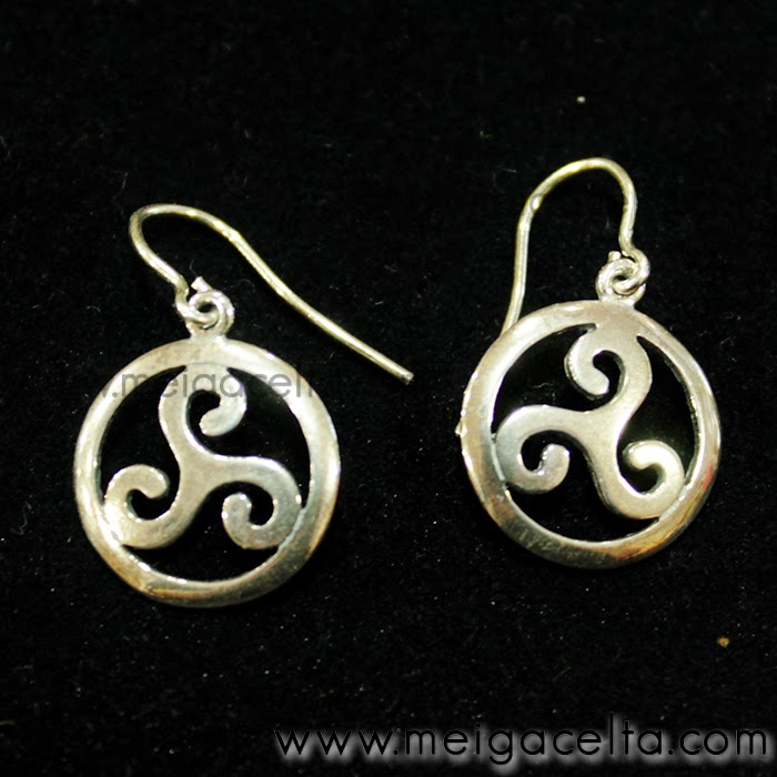 Pendientes triskel trisquel plata ritualizados amuleto talisman meiga celta artesania galicia