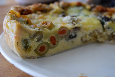 Quiche with olives - mushrooms - mozzarella - eggs