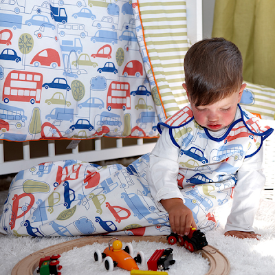 Baby Sleeping Bags - Ella & Otto Beep Beep baby sleeping bag. Shown on a baby.