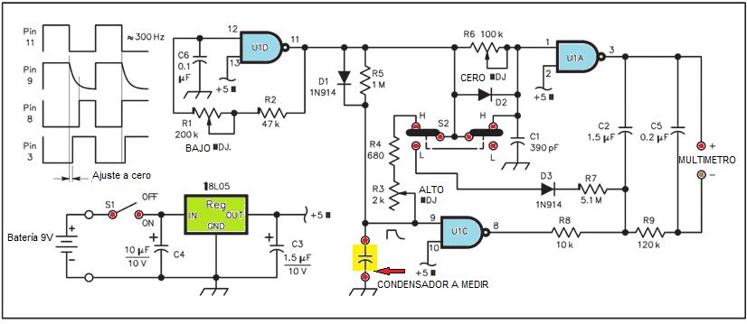 diagrama esuqemático del circuito para probar condensador con multimetro digital