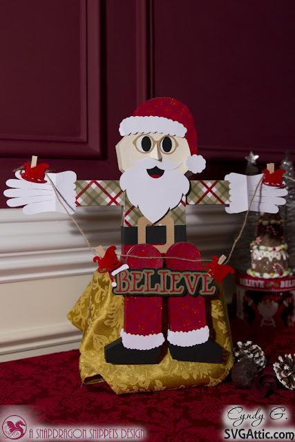 3d paper sitting Santa