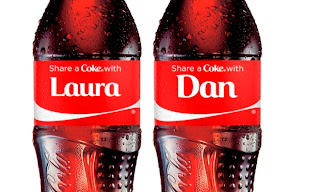 Names on new Coca Cola promotional bottles