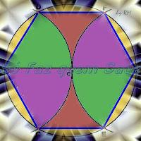 Hexágono regular inscrito em uma circunferência.