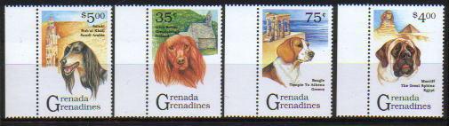 1993年グレナダ サルーキ アイリッシュ・セター ビーグル マスティフの切手