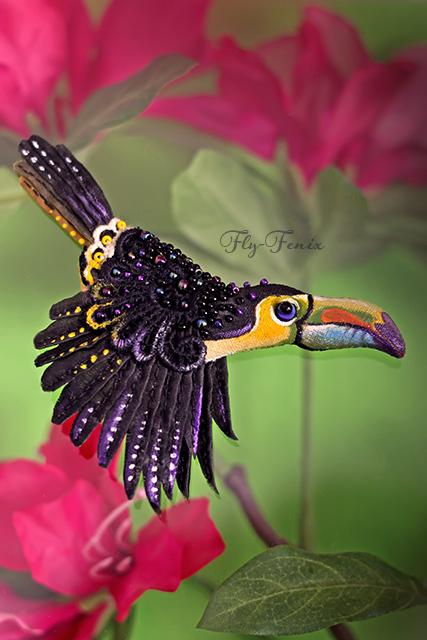 rajskie ptaki broszki