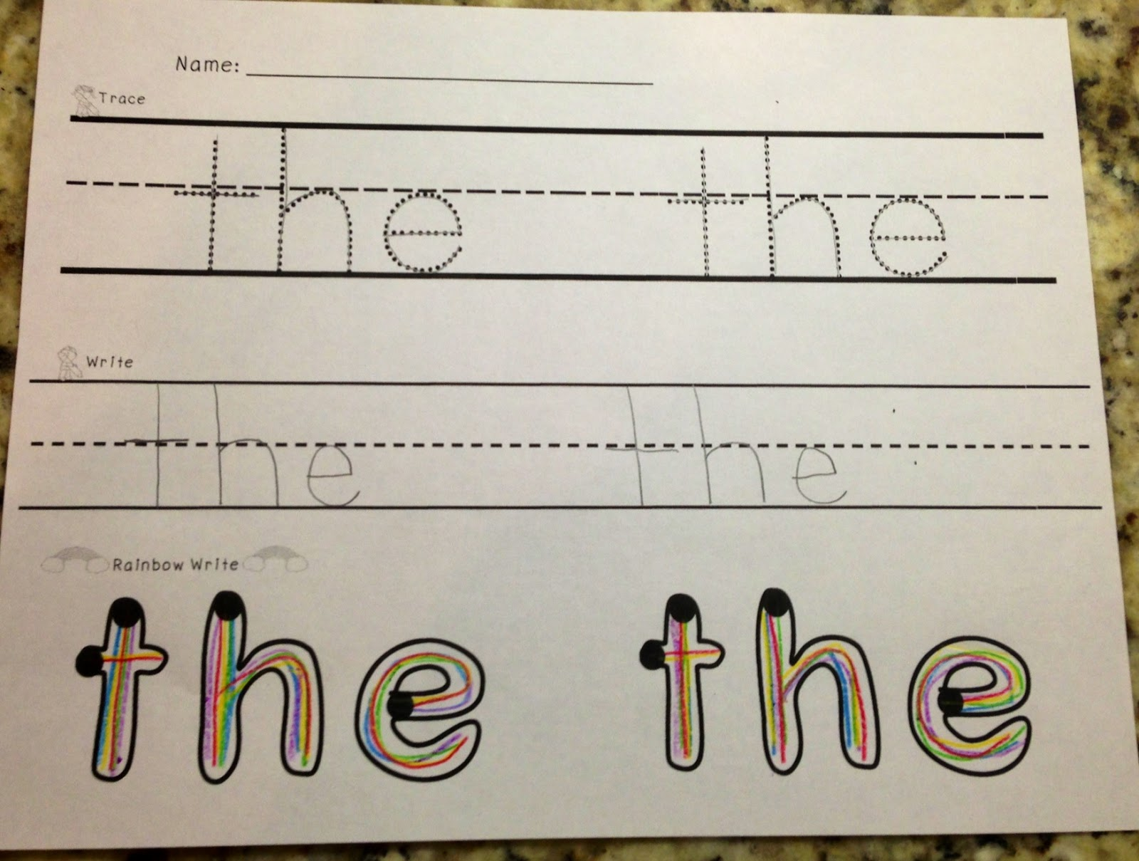 A Spoonful of Learning: Sight Words: Trace, Write, Rainbow Write