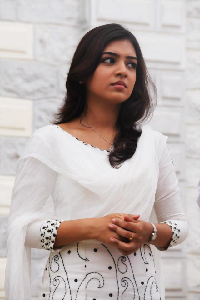cute actress nazriya nazim cute stills in white churi