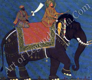 Muhammad Adil Shah and his minister Ikhlas Khan riding an elephant.