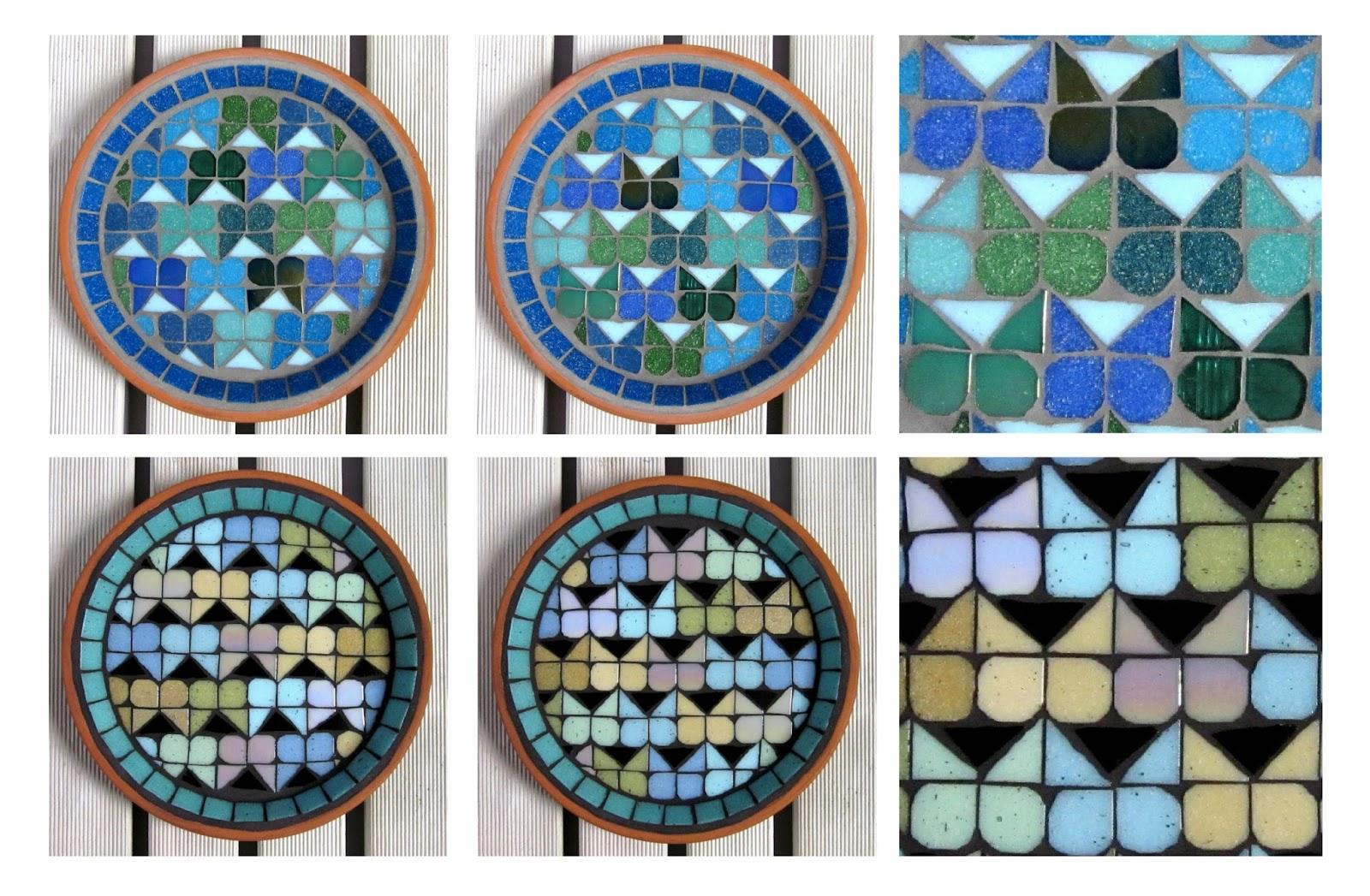 Butterfly Love Mosaic Garden Bird Baths (two tone hearts with hidden butterflies)