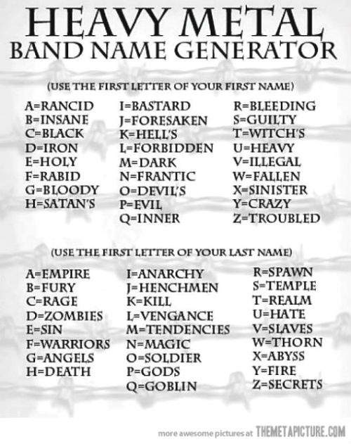 Lanny-yap: Heavy Metal Band Name Generator