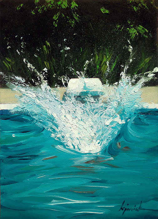 """Pool Splash Cannonball a painting today: """"cannonball"""""""