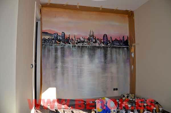 Graffitis skyline en comedor