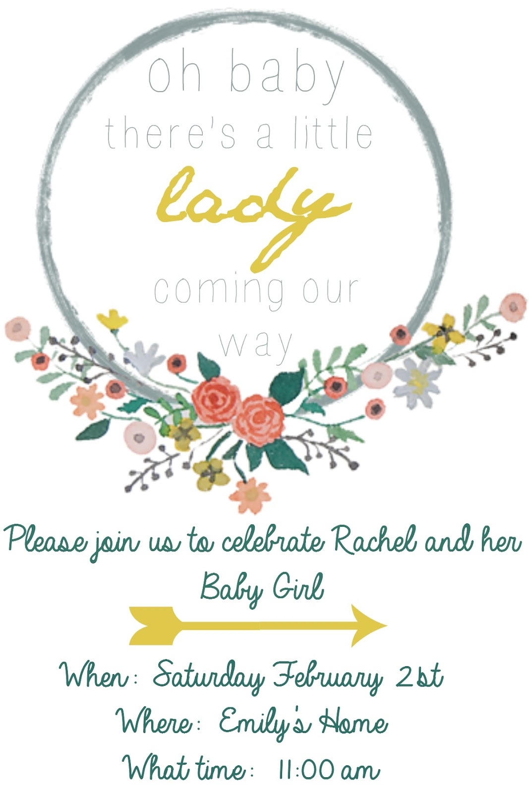 Free Baby Shower Invitation Template And Floral Wreath Clip Art  Baby Shower Invite Template Free