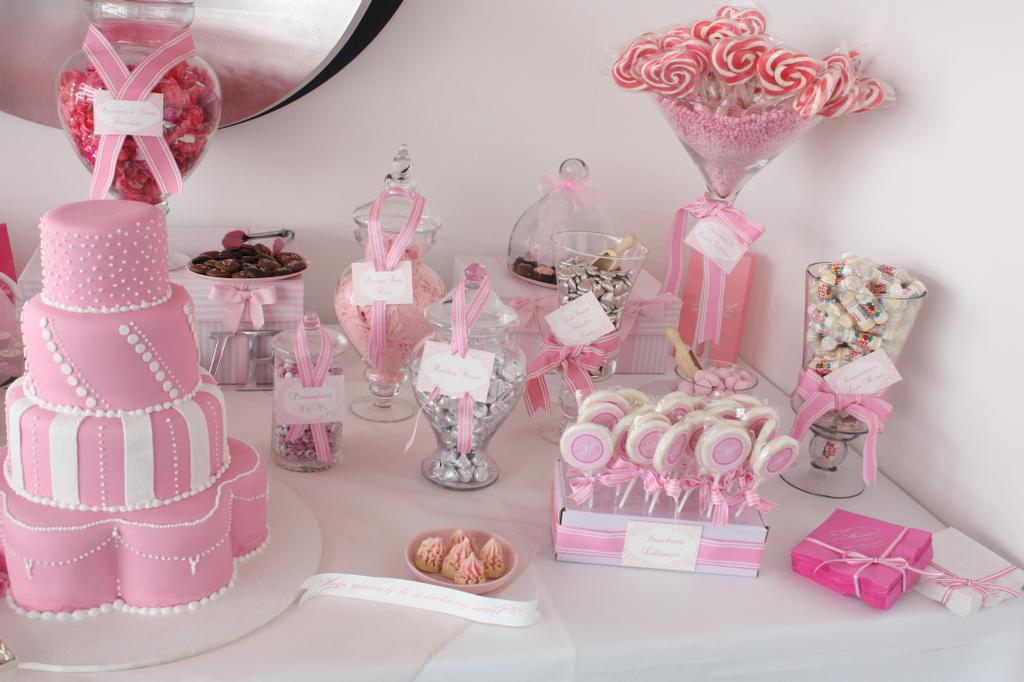 Party hat candy buffet table for girls - Pink baby shower table decorations ...