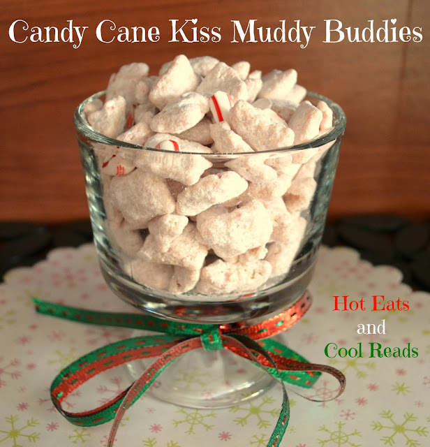 Perfect snack for any Christmas or holiday celebration! So easy to make! Candy Cane Kiss Muddy Buddies Recipe from Hot Eats and Cool Reads