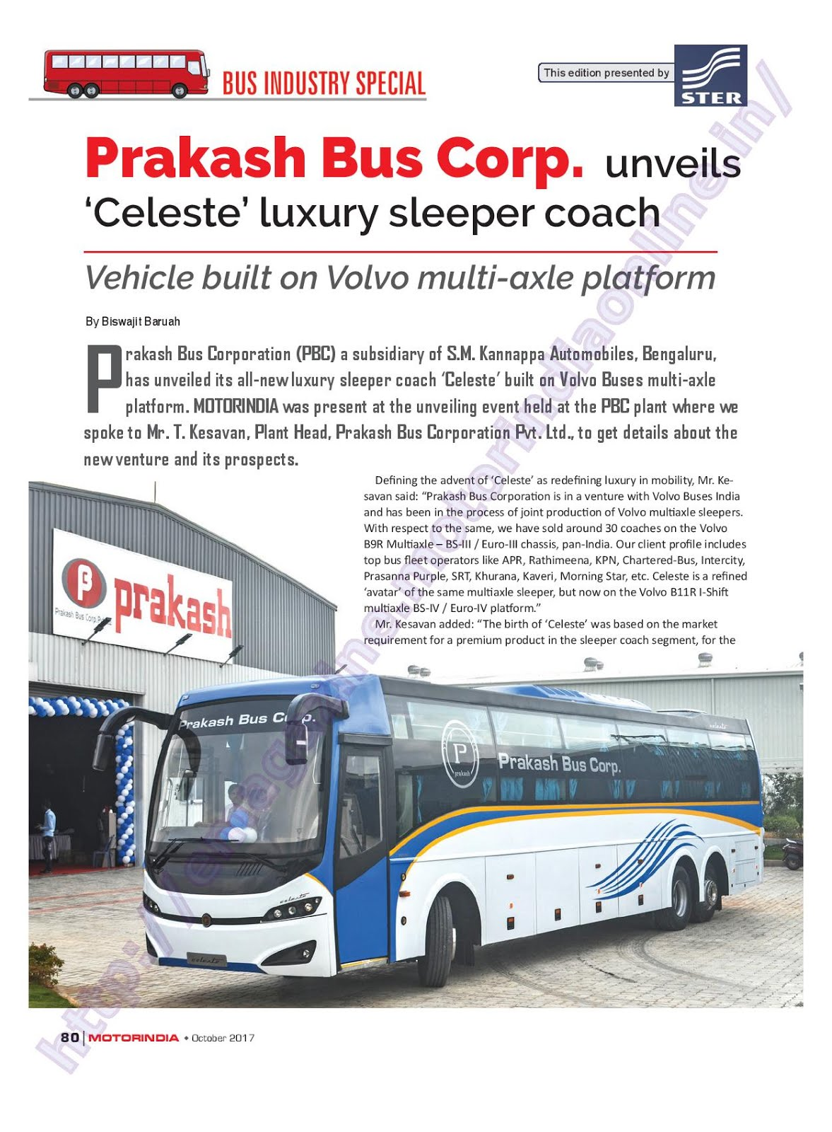 MOTOR INDIA ARTICLE 20 : PRAKASH VOLVO CELESTE