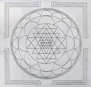 пример как нарисовать шри янтра чакра треугольниками вписанными в круг