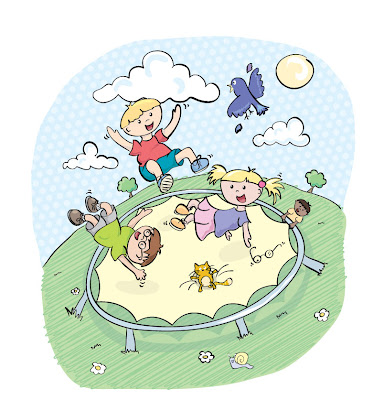 Children playing on a trampoline illustration.