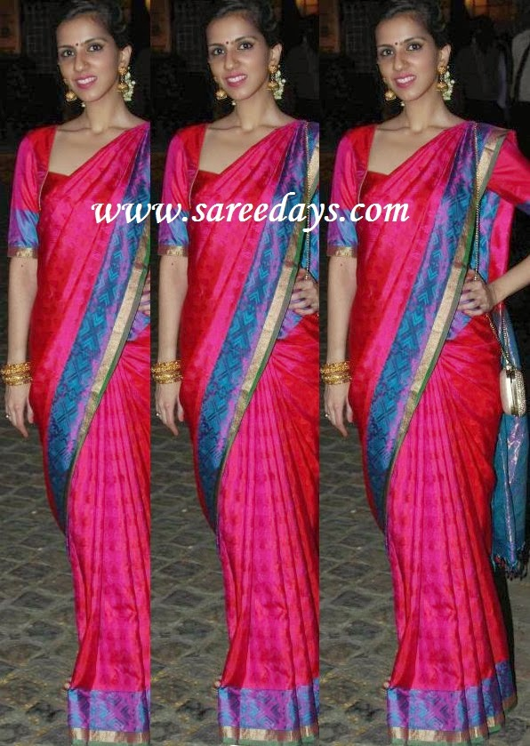 Latest saree designs nishka lulla in pink uppada pattu saree checkout nishka lulla in pink uppada pattu saree with self work and blue and zari border and paired with matching half sleeves blouse altavistaventures Image collections