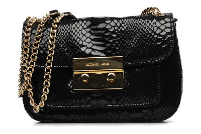 Michael Kors black bag with gold chain handle