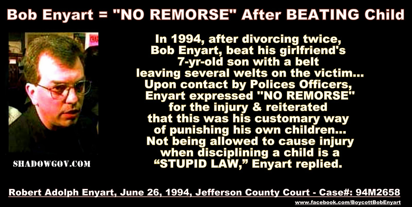 ROBERT ADOLPH ENYART - TWICE CONVICTED CHILD-ABUSER