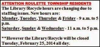 Roulette Library/Recycling Hours