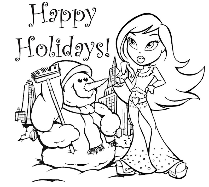 Below is bratz coloring pages for winter season, lets start coloring  title=