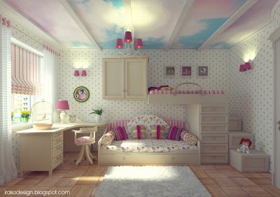 habitación para niña romántica