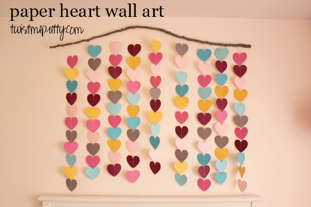Paper heart wall art twist me pretty for Art and craft for home decoration with paper