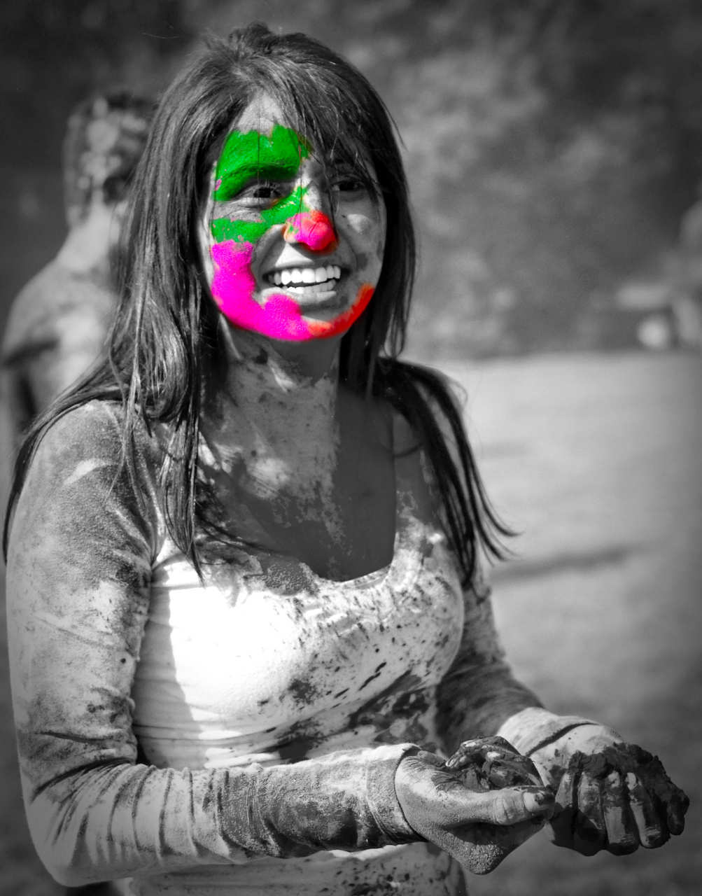 Holi Festival black and white photography with color