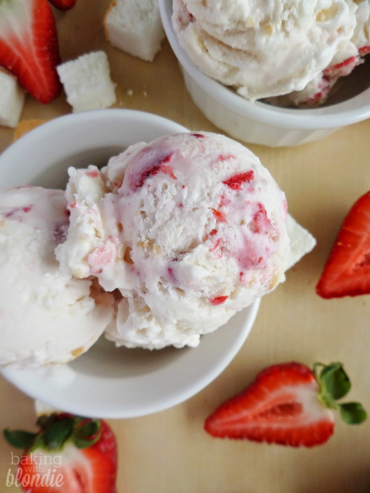 Strawberry Angel Food Cake Ice Cream