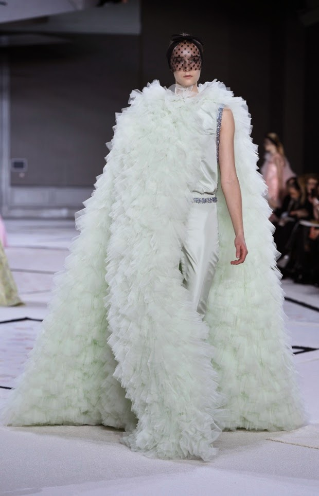 giambattista valli spring summer couture 2015 ruffles pale green