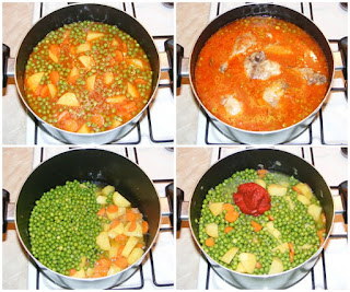 mazare, mazare scazuta, preparare mancare de mazare cu carne de pui si legume, retete culinare, cum se face mancare de mazare, mancare de mazare cu morcovi si cartofi si carne de pui, retete mancaruri cu legume si carne,