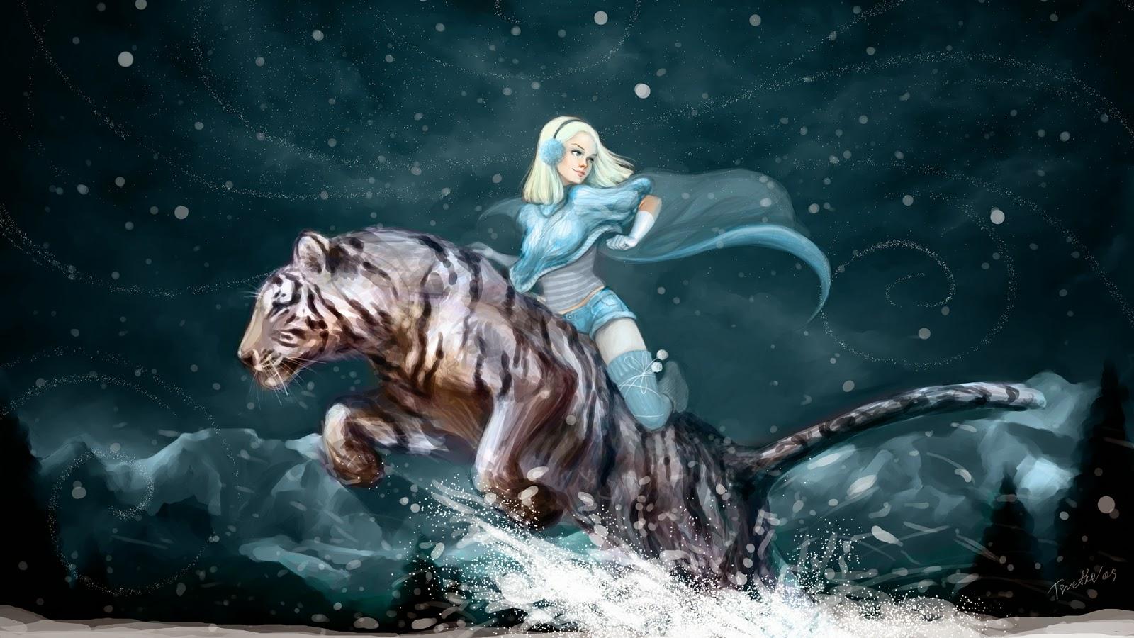 Girl riding tiger anime wallpaper free wallpaper hd girl riding tiger anime wallpaper voltagebd Images