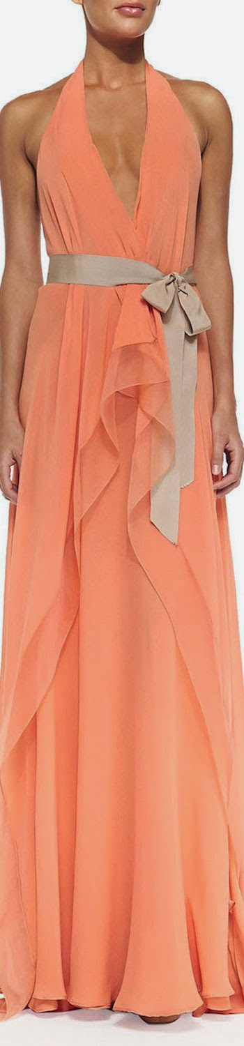 Donna Karan Belted V-Neck Halter Gown melon