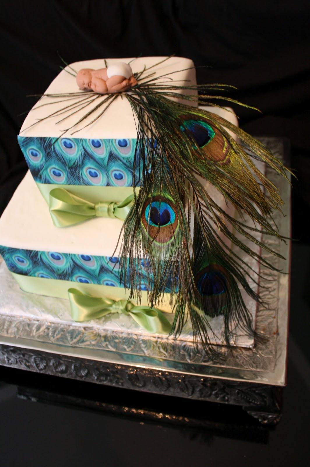 mild too wild cakes peacock baby shower theme cake