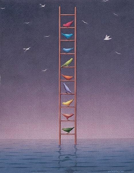 Escalera con pájaros (Gurbuz)