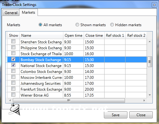 select stock exchanges