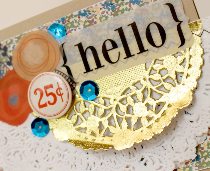 SRM Stickers Blog - Doily Hello Card by Tessa Wise - #card #doilies #gold #stickers #stiitches #vellum