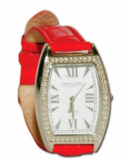 Красные часы с кристаллами (код 525246)