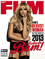 Melinda Bam on the cover of FHM July 2013 issue in hot black lingerie