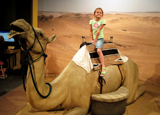 "A snapshot of Tessa on a life-size model of a camel at ""Lost Egypt."""