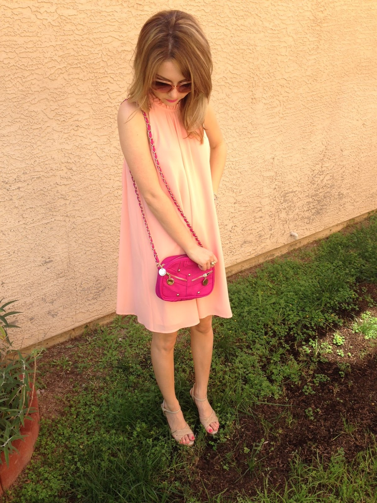 ootd, shift dress, pink, fossil, forever21